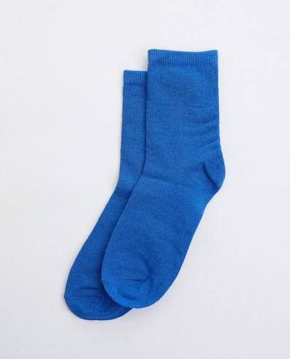 Blauwe kousen met metaaldraad
