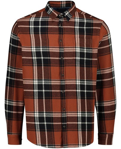 Chemise brun foncé à carreaux