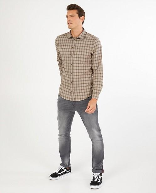 Grijs hemd met ruitpatroon - allover - Quarterback