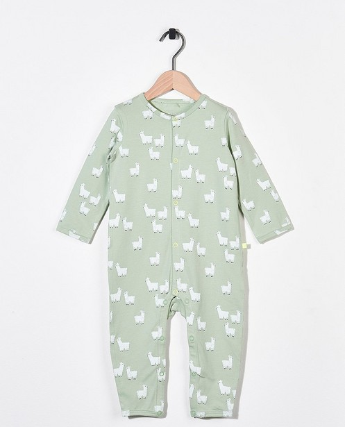 Lichtgroene pyjama van biokatoen - met allover lamaprint - Cuddles and Smiles