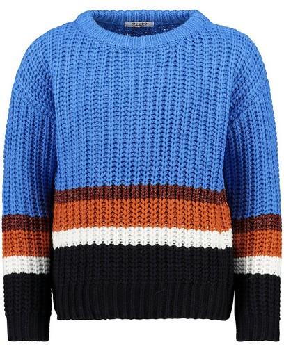 Blauwe trui met color block