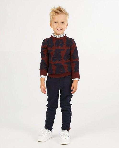 Pull brun avec un imprimé d'ours Vic le Viking - en fin tricot - Vic le Viking