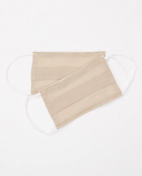 2 beige mondmaskers - unisex - set van 2 - JBC