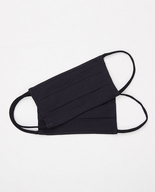 2 zwarte mondmaskers - unisex - set van 2 - JBC