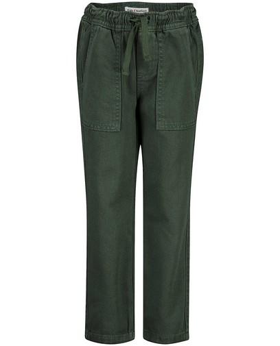 Donkergroene broek met veterlint