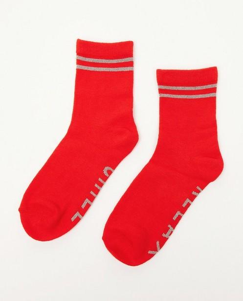 Chaussettes rouges à inscription - fil métallisé - JBC