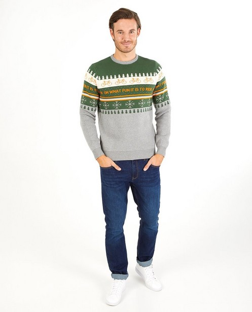 Pull de Noël vert-gris Baptiste - en fin tricot - Baptiste