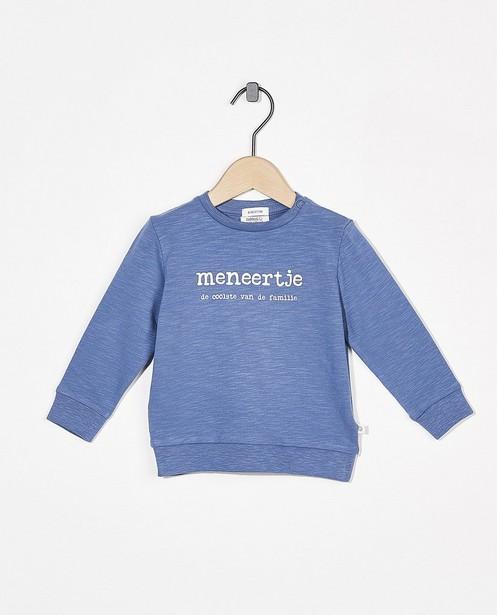 Sweat bleu avec inscription (NL) - coton bio flammé - Cuddles and Smiles