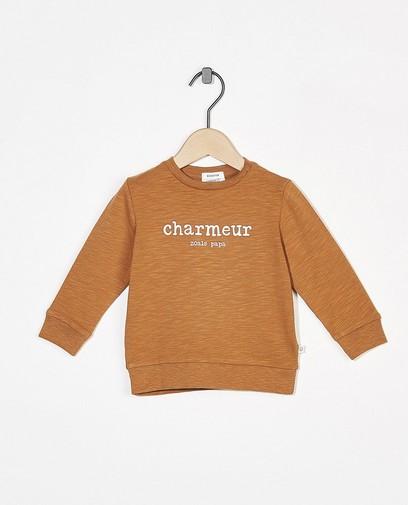 Bruine sweater met opschrift (NL)