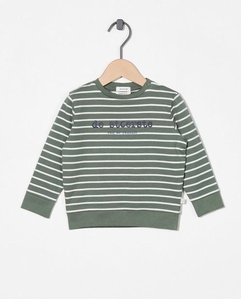 Sweat vert avec une inscription (NL) - et rayures - Cuddles and Smiles