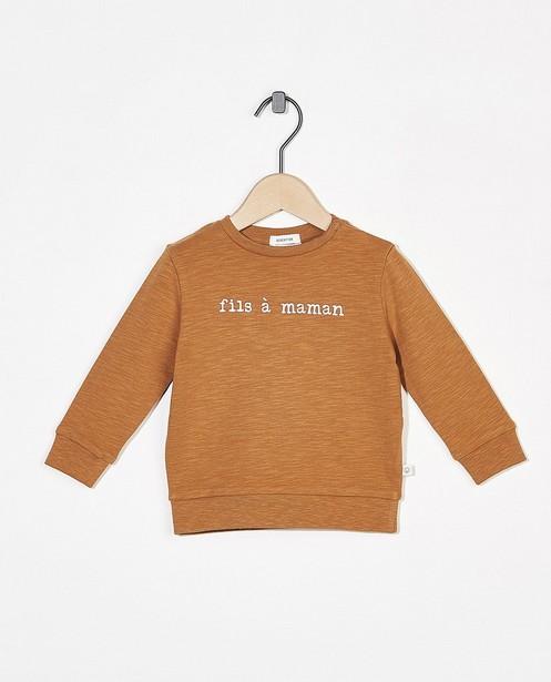 Sweat brun avec inscription (FR) - en coton bio flammé - Cuddles and Smiles