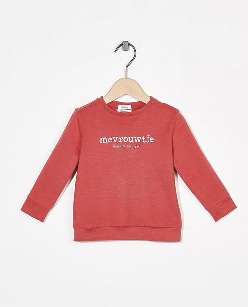 Roze sweater met opschrift (NL) - met drukknoopjes - Cuddles and Smiles