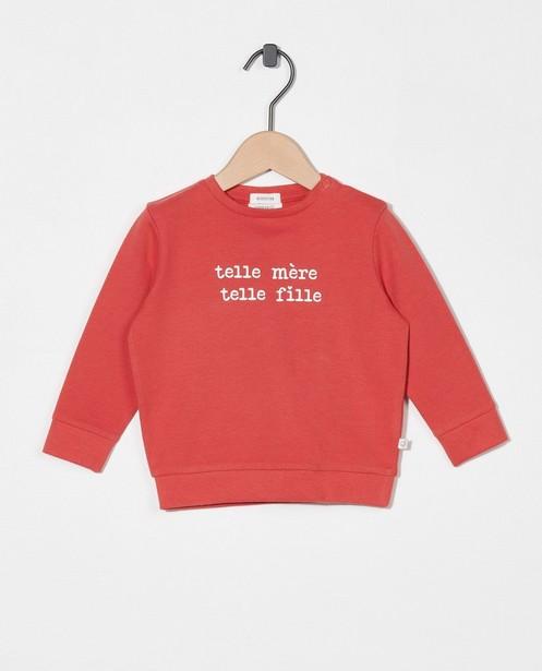 Roze sweater met opschrift (FR) - met drukknoopjes - Cuddles and Smiles