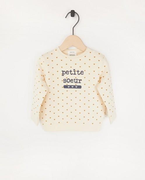 Offwhite sweater met opschrift (FR) - met drukknoopjes - Cuddles and Smiles