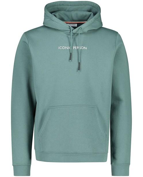 Groene hoodie van biokatoen - met opschrift - Quarterback