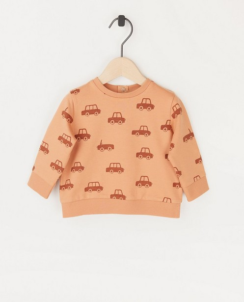 Oranje sweater met print BESTies - allover - Besties