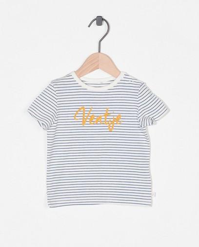 Biokatoenen T-shirt met opschrift (NL)