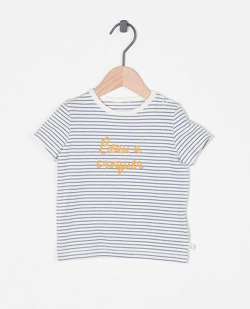 Biokatoenen T-shirt met opschrift (FR) - stretch - Cuddles and Smiles