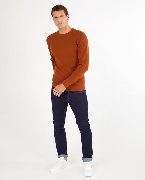 Pull cognac avec relief - en tricot - Quarterback
