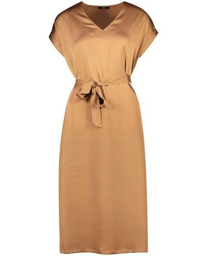 Cognackleurige jurk Sora