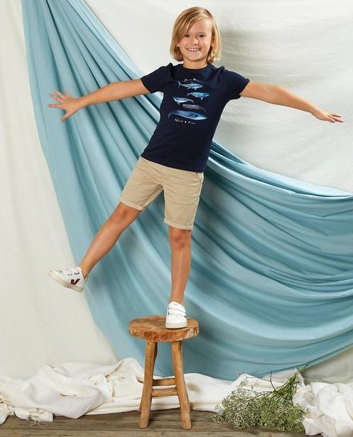 Blauw T-shirt met print Communie - op de borst - Kidz Nation