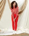 Witte blouse met rode print Sora - met smokwerk - Sora