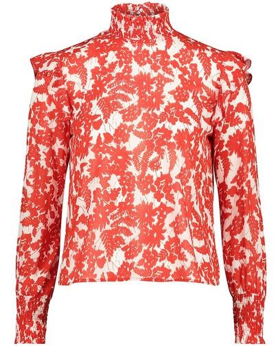 Witte blouse met rode print Sora