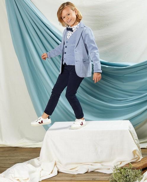 Lichtblauwe blazer Communie - met allover print - Kidz Nation