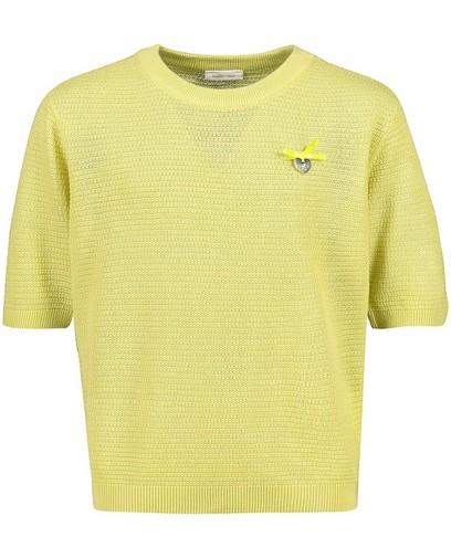 Top tricoté en vert jaune Communion