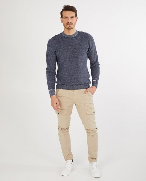 Pull bleu en coton bio - chiné - Quarterback