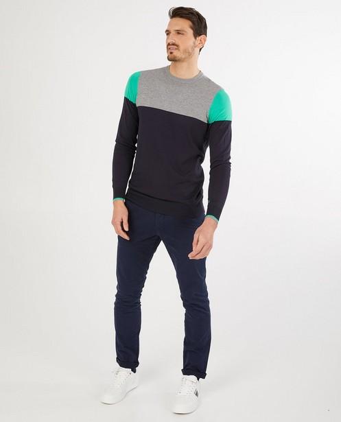Blauw-grijze trui met color block - van fijne brei - Quarterback