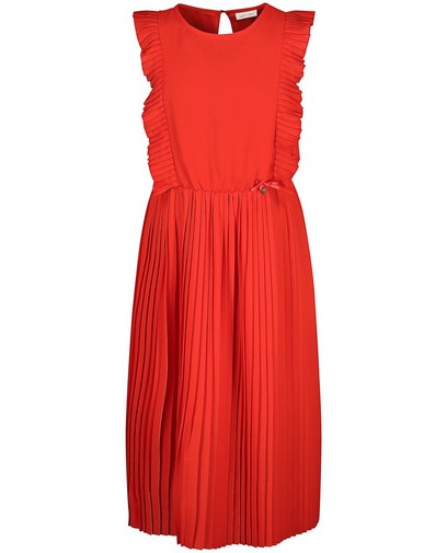 Rode jurk met plissé Communie