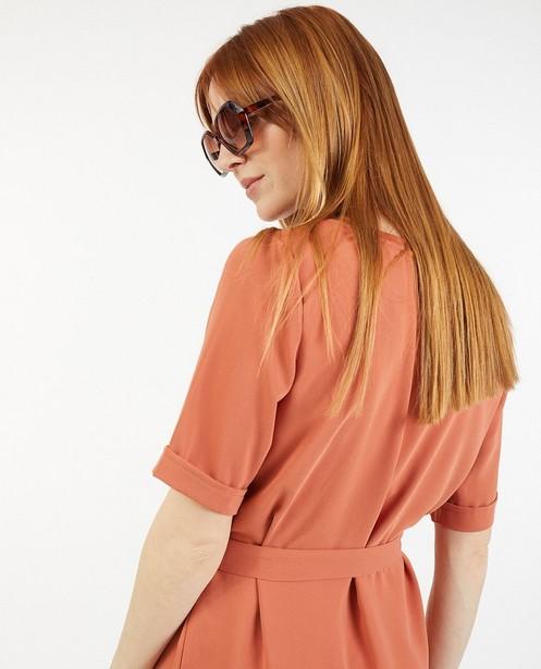 Robe orange à manches courtes Sora - ceinture à nouer - Sora