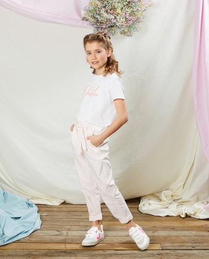 Pantalon blanc à rayures Communion