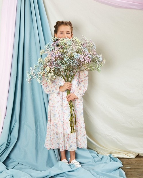 Witte jurk met print Communie - allover bloemenprint - Milla Star