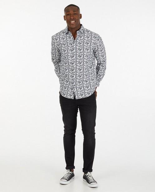 Wit hemd met donkerblauwe print - regular fit - Iveo