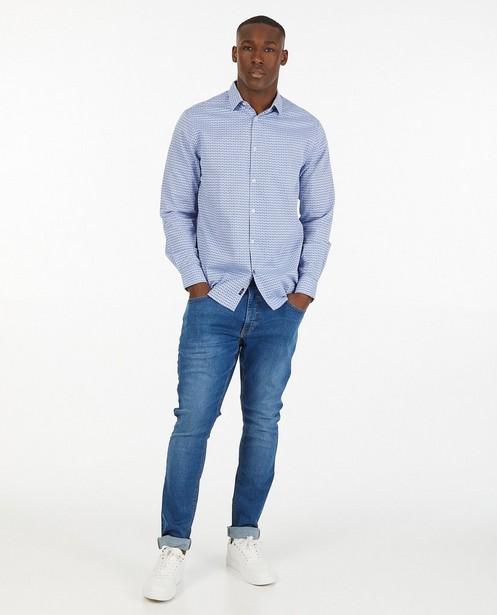 Blauw hemd met print - allover - Iveo