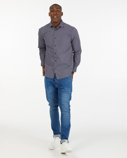 Donkerblauw hemd met print - in wit - Iveo