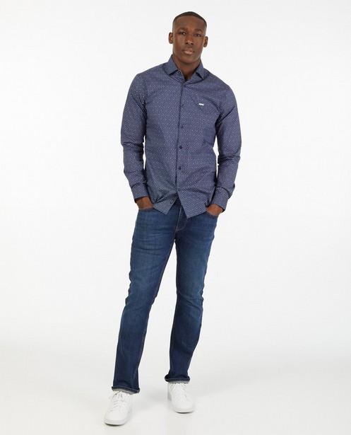 Donkerblauw hemd met print - allover - Iveo