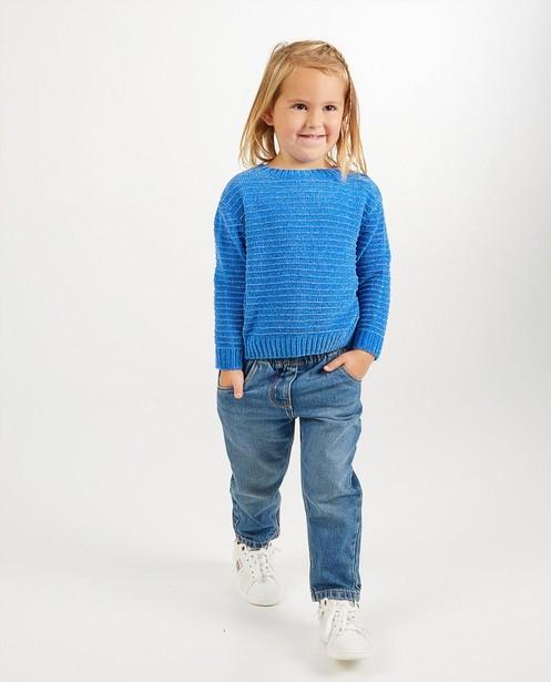 Blauwe trui van chenille - gebreid - Milla Star