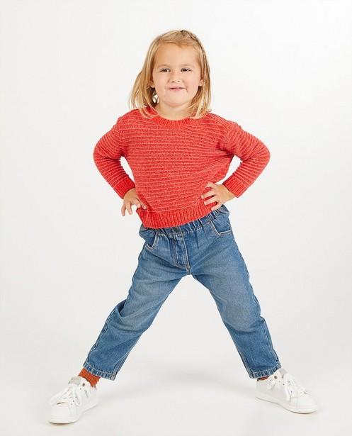 Pull rouge en fil chenille - en tricot - Milla Star