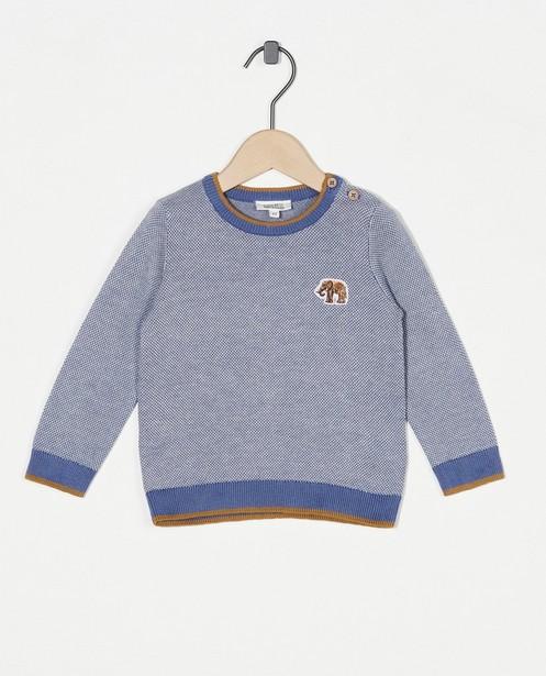 Pull bleu clair en coton bio - avec un éléphant - Cuddles and Smiles