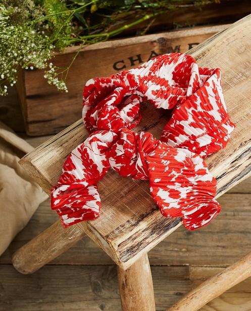 Rood-witte sjaal met print Communie - bloemenprint - JBC