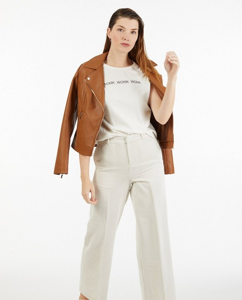 Bruine faux leather jas Sora - kort model - Sora