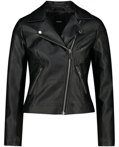 Zwarte faux leather jas Sora