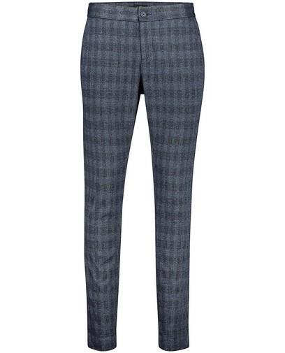 Blauwe broek met ruitpatroon