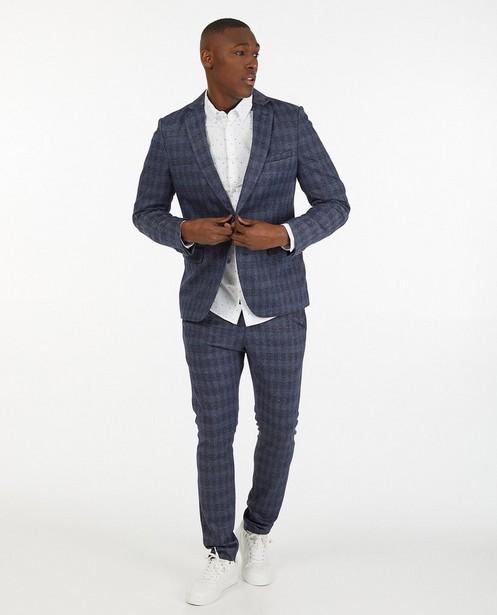 Blauwe blazer met ruitpatroon - allover - Iveo