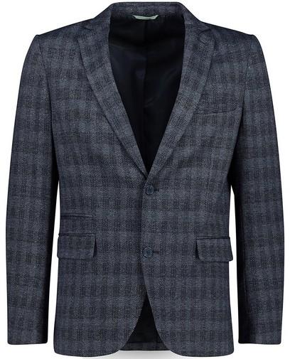 Blauwe blazer met ruitpatroon