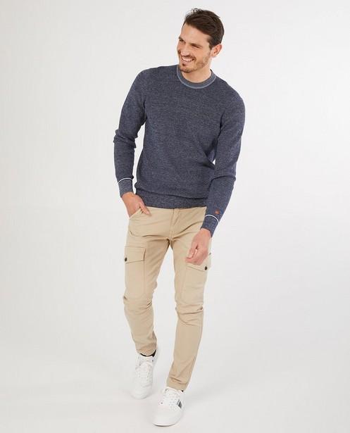 Pantalon cargo slim fit beige Vic - poches à rabat - Quarterback