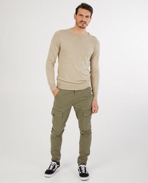Groene cargo slim fit broek Vic - met klepzakken - Quarterback